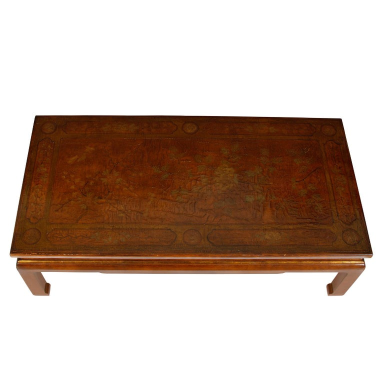 Chinoiserie Chinese Lacquered Coffee Table in Caramel For Sale