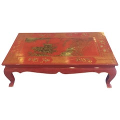 Chinese Lacquered and Hand Painted Gilt Coffee Table