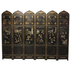 Chinese Lacquered Six Panel Screen