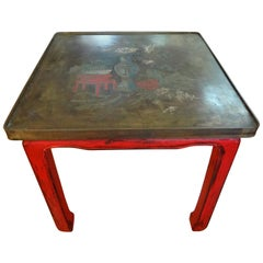 Chinese Lacquered Table with Etched Bronze Top