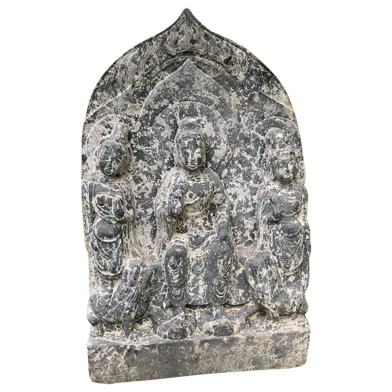 """Chinese Large Old Stone """"Buddha"""" of Compassion, Private Family Shrine For Sale"""