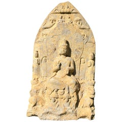 "Chinese Large Old Stone ""Buddha"" of Compassion Triad, Private Family Shrine"