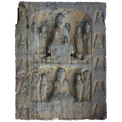 "Chinese Large Old Stone ""Double Buddha"" Grotto Sculpture, Private Family Shrine"