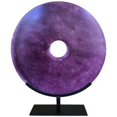 Chinese Large Purple Jade Disc Sculpture on Stand, 20th Century
