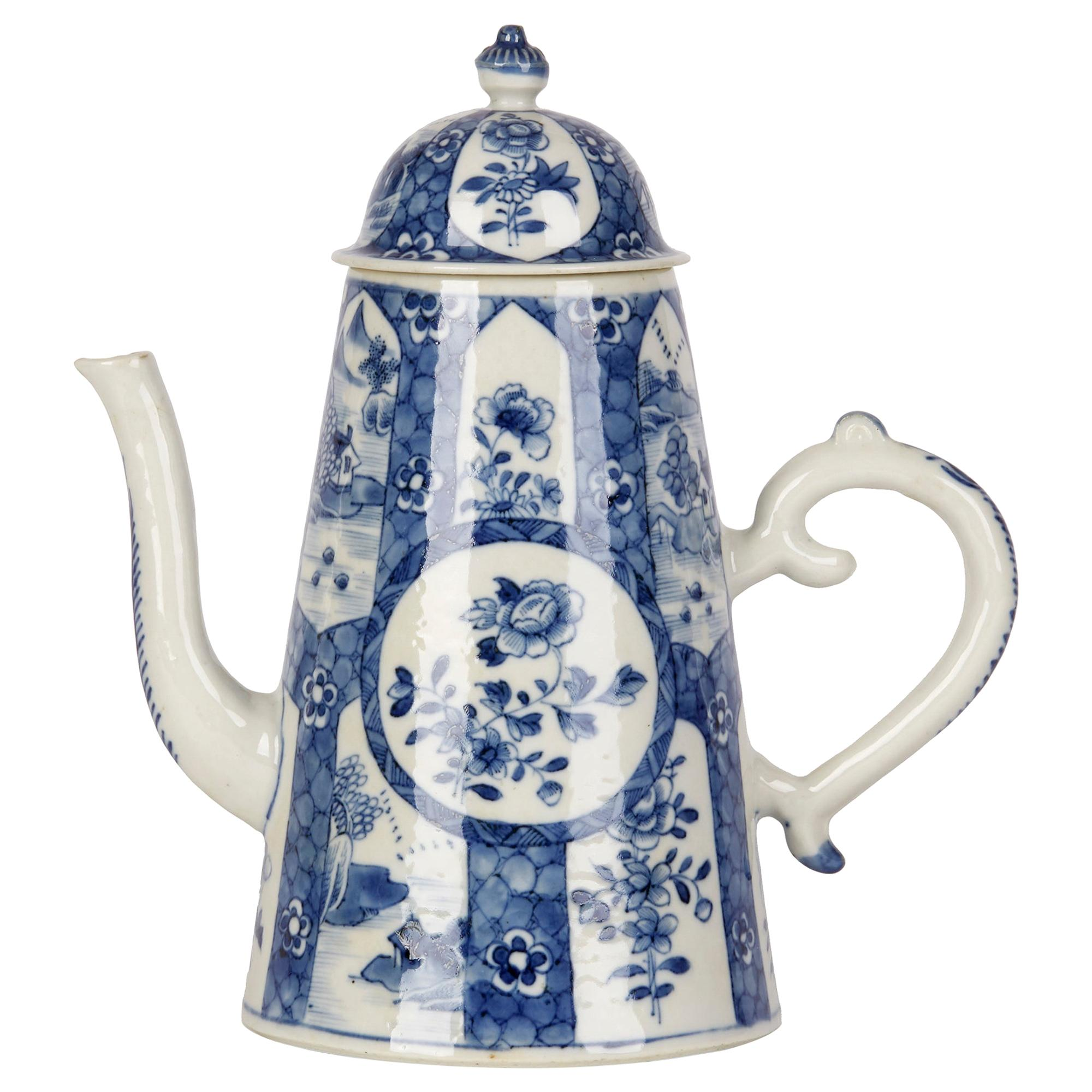 Chinese Large Qianlong Blue and White Porcelain Chocolate Pot, 18th Century
