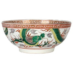 Chinese Large Qing Porcelain Famille Verte Palette Dueling Dragons Punch Bowl