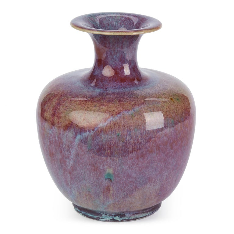 Chinese Large Vintage Sang De Bouef Glazed Art Pottery Vase For Sale 4
