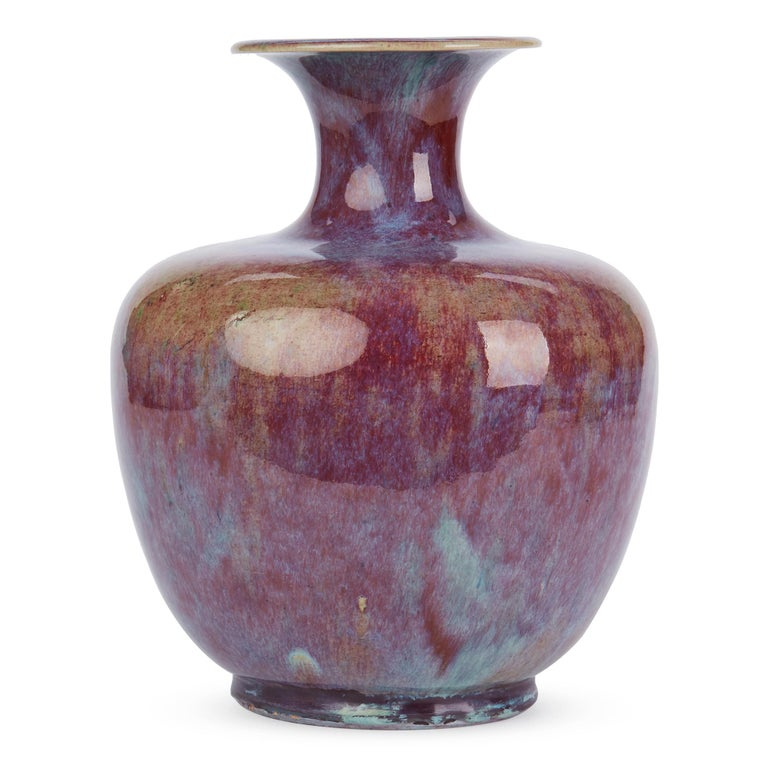Chinese Large Vintage Sang De Bouef Glazed Art Pottery Vase For Sale 1