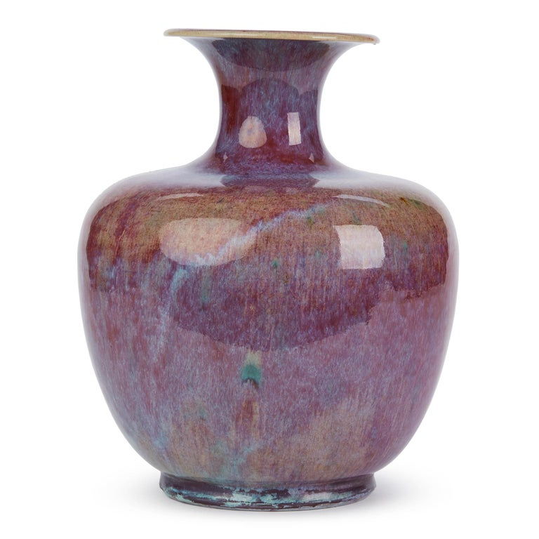 Chinese Large Vintage Sang De Bouef Glazed Art Pottery Vase For Sale 2