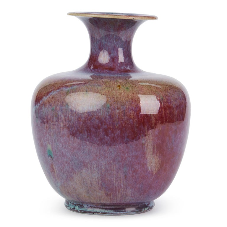 Chinese Large Vintage Sang De Bouef Glazed Art Pottery Vase For Sale 3