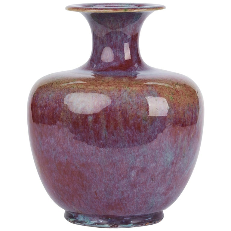 Chinese Large Vintage Sang De Bouef Glazed Art Pottery Vase For Sale