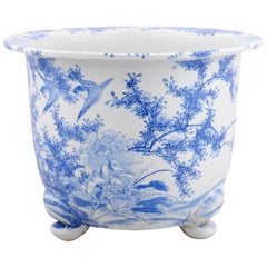 Chinese Late 19th Century Blue and White Planter with Birds, Foliage and Flowers