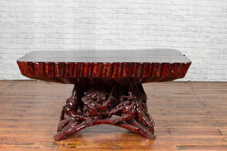 Chinese Late 20th Century Hand Carved Lacquered Azalea Wood Root Coffee Table For Sale 9