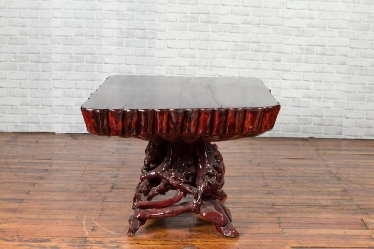 Chinese Late 20th Century Hand Carved Lacquered Azalea Wood Root Coffee Table For Sale 10