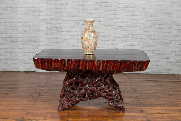 Chinese Late 20th Century Hand Carved Lacquered Azalea Wood Root Coffee Table For Sale 1