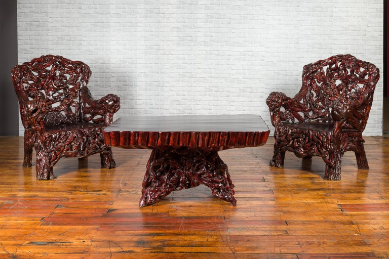 Chinese Late 20th Century Hand Carved Lacquered Azalea Wood Root Coffee Table For Sale 2