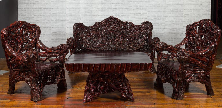 Chinese Late 20th Century Hand Carved Lacquered Azalea Wood Root Coffee Table For Sale 3