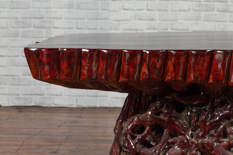 Chinese Late 20th Century Hand Carved Lacquered Azalea Wood Root Coffee Table For Sale 5