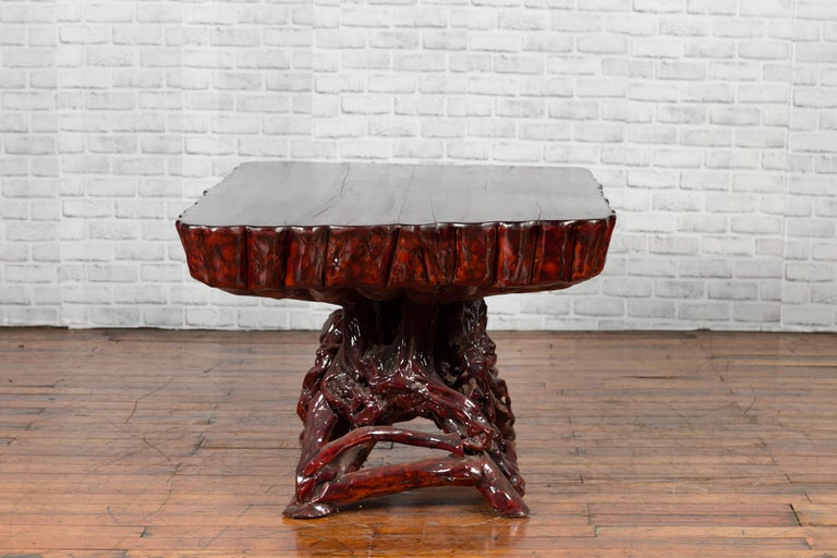 Chinese Late 20th Century Hand Carved Lacquered Azalea Wood Root Coffee Table For Sale 6