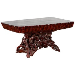 Chinese Late 20th Century Hand Carved Lacquered Azalea Wood Root Coffee Table