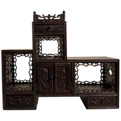 Chinese Late Qing Dynasty Hardwood Miniature Display Cabinet, Doubaoge