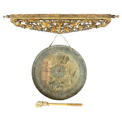 Chinese Late Qing Dynasty Large Brass Gong with Carved Giltwood Support, c. 1900