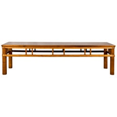 Chinese Late Qing Dynasty Low Table with Pierced Apron and Pillar Strut Motifs