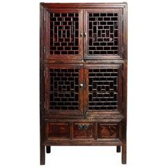 Chinese Lattice Cabinet with Original Patina