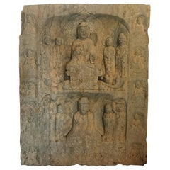 """Chinese Lg Stone """"Double Buddha"""" Guan Yin Attendants Hand-Carved Old Collection"""