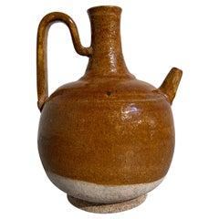 Chinese Liao Dynasty Amber Glazed Stoneware Strap Handle Ewer, 11th Century