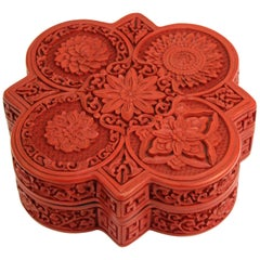 Chinese Lidded Cinnabar Box with Five Flower Design