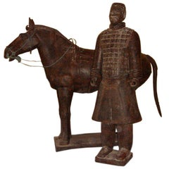 Chinese Life-Size Horse and Warrior