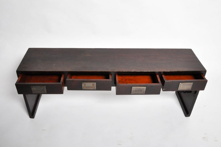 Chinese Low Table with Four Drawers For Sale 8