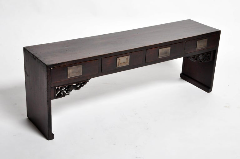 Chinese Low Table with Four Drawers For Sale 12