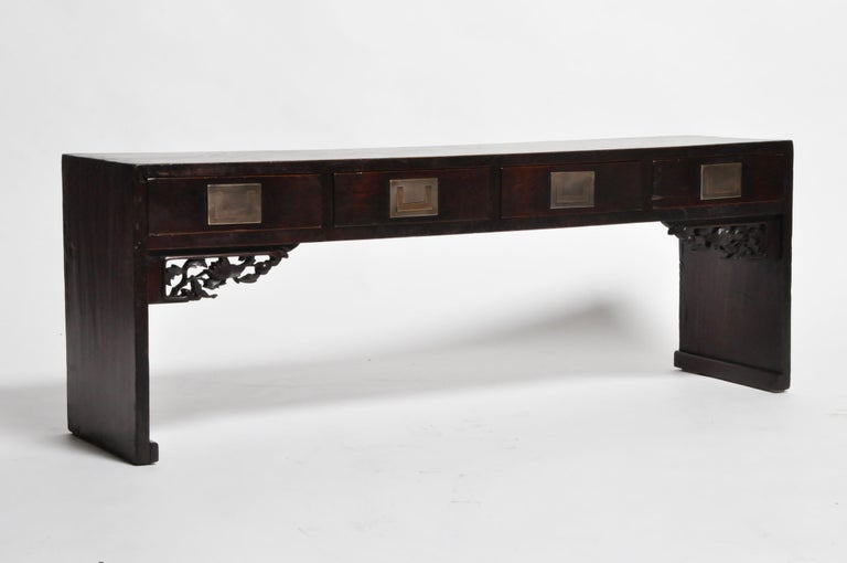 Chinese Low Table with Four Drawers In Good Condition For Sale In Chicago, IL