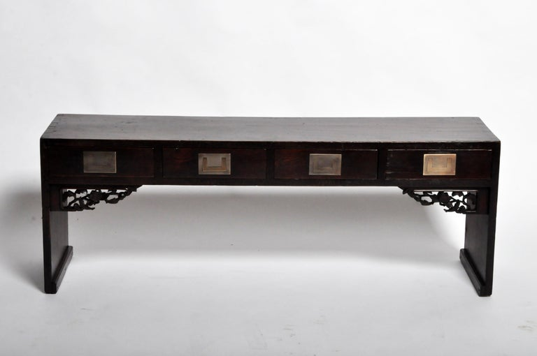 Walnut Chinese Low Table with Four Drawers For Sale
