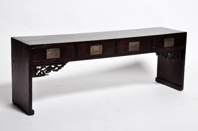 Chinese Low Table with Four Drawers For Sale 1