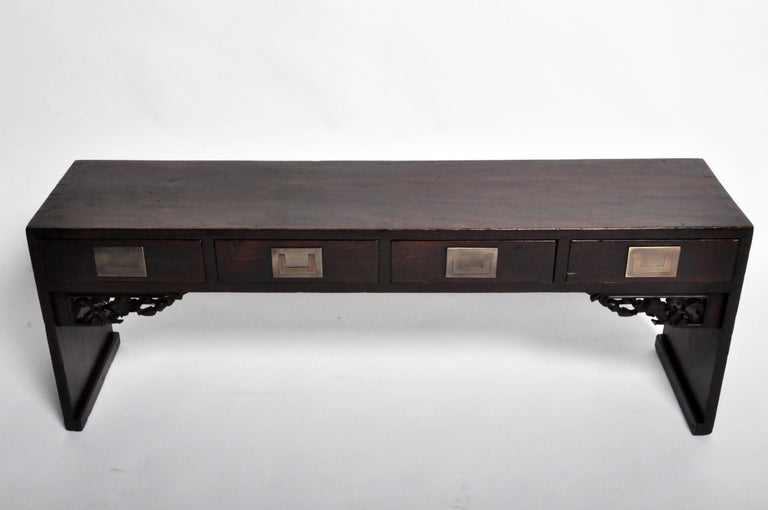 Chinese Low Table with Four Drawers For Sale 2