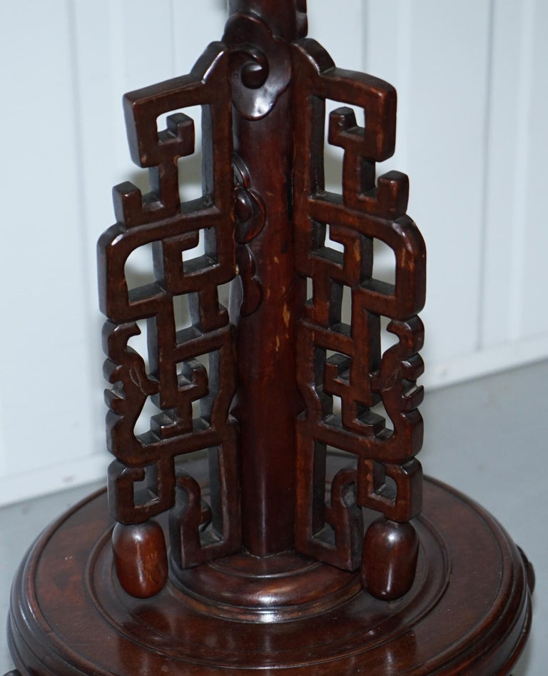 Chinese Mahogany Dragon 1920s Hand Carved Wood Floor