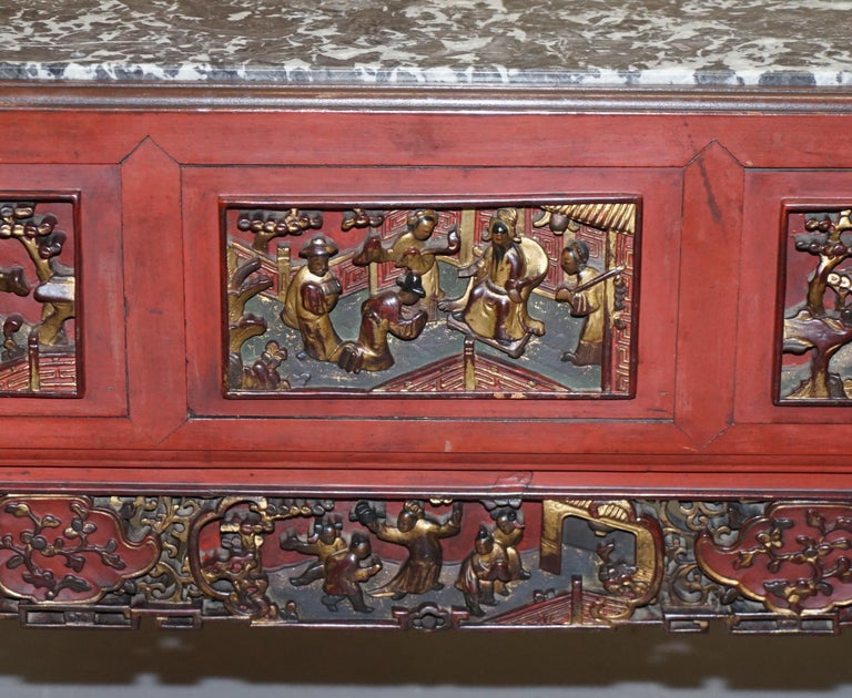 Chinese Marbel Topped Tea or Coffee Table Using Vintage Carved Giltwood Panels For Sale 3