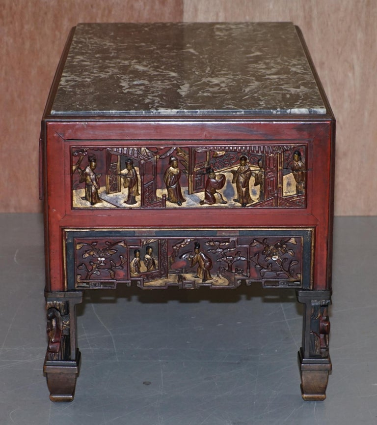 Chinese Marbel Topped Tea or Coffee Table Using Vintage Carved Giltwood Panels For Sale 10