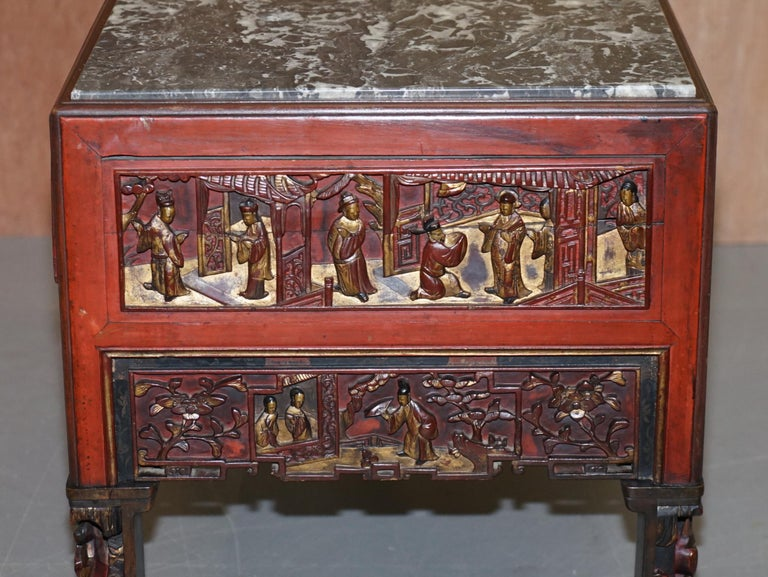 Chinese Marbel Topped Tea or Coffee Table Using Vintage Carved Giltwood Panels For Sale 11