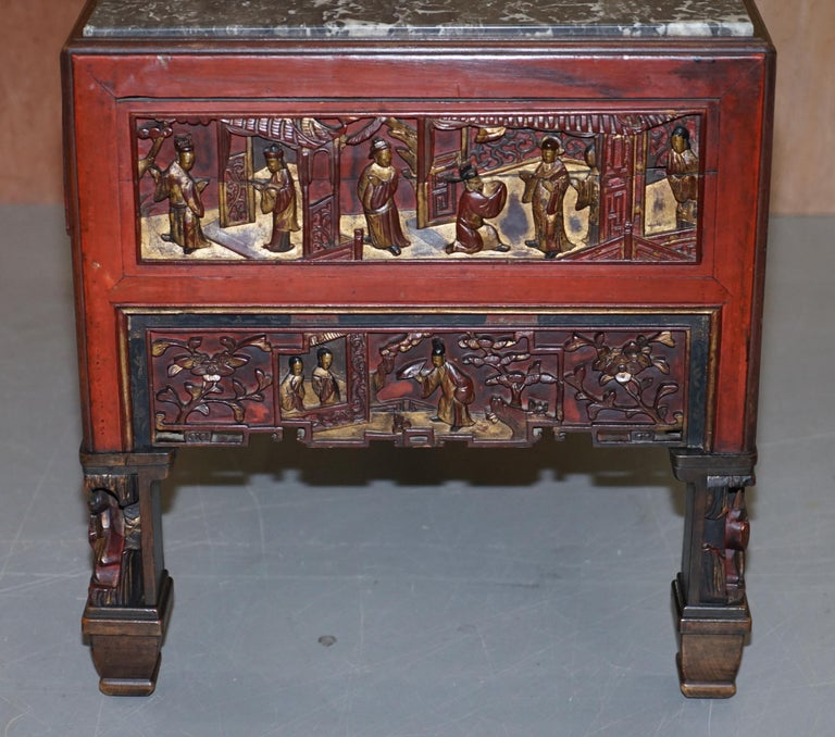 Chinese Marbel Topped Tea or Coffee Table Using Vintage Carved Giltwood Panels For Sale 12