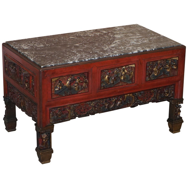 Chinese Marbel Topped Tea or Coffee Table Using Vintage Carved Giltwood Panels For Sale