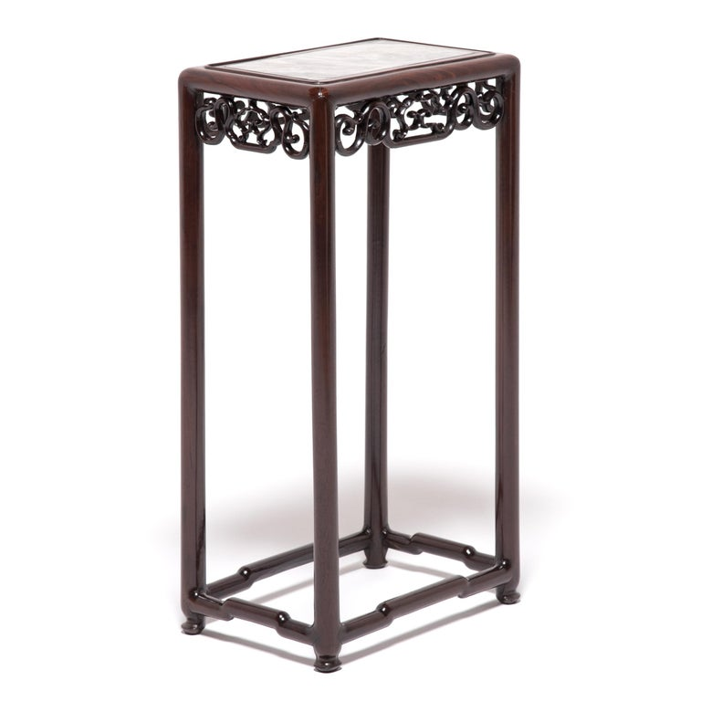 Chinese Marble Top Deco Plant Stand In Good Condition For Sale In Chicago, IL