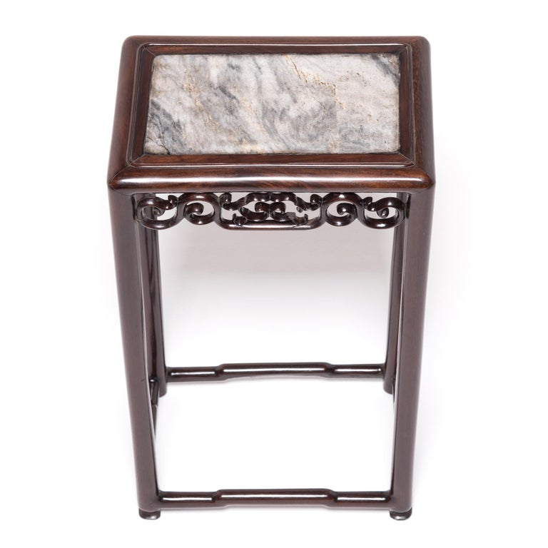 20th Century Chinese Marble Top Deco Plant Stand For Sale