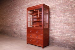 Chinese Mid-Century Carved Elmwood Glass Front Lighted Display Cabinet