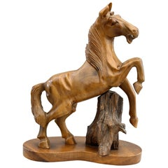 Chinese Midcentury Carved Wood Figure of a Rearing Horse