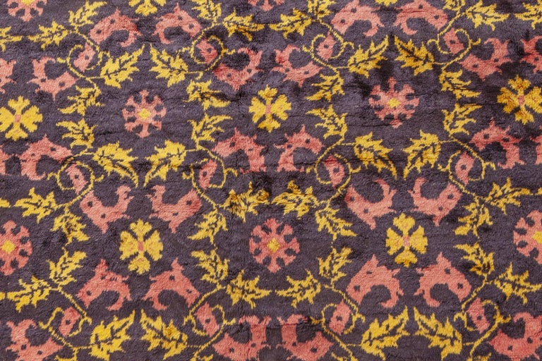 Art Deco Midcentury Chinese Deep Purple, Pink and Yellow Handmade Wool Rug For Sale