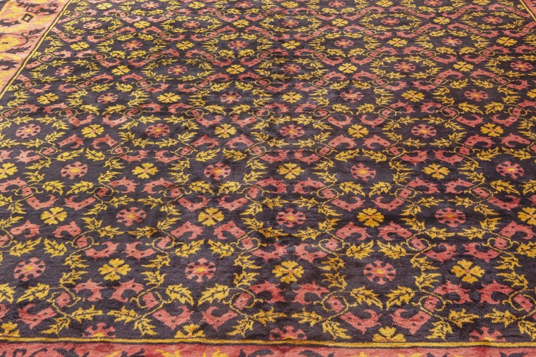 Hand-Woven Midcentury Chinese Deep Purple, Pink and Yellow Handmade Wool Rug For Sale
